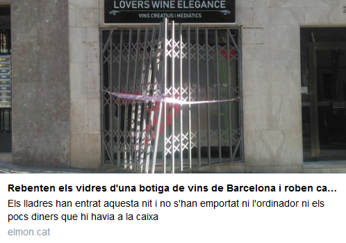entren a robar a la botiga de vins de Barcelona
